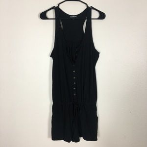 Express Black Button Front Romper